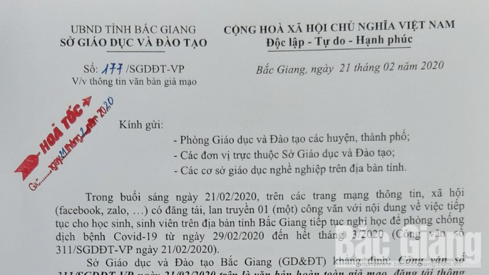 Sở Giáo dục và Đào tạo Bắc Giang có công văn hỏa tốc thông tin về văn bản giả mạo cho học sinh, sinh viên nghỉ học đến hết tháng 3